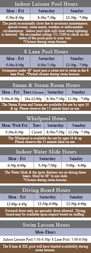 Winter Spring Pool Hours