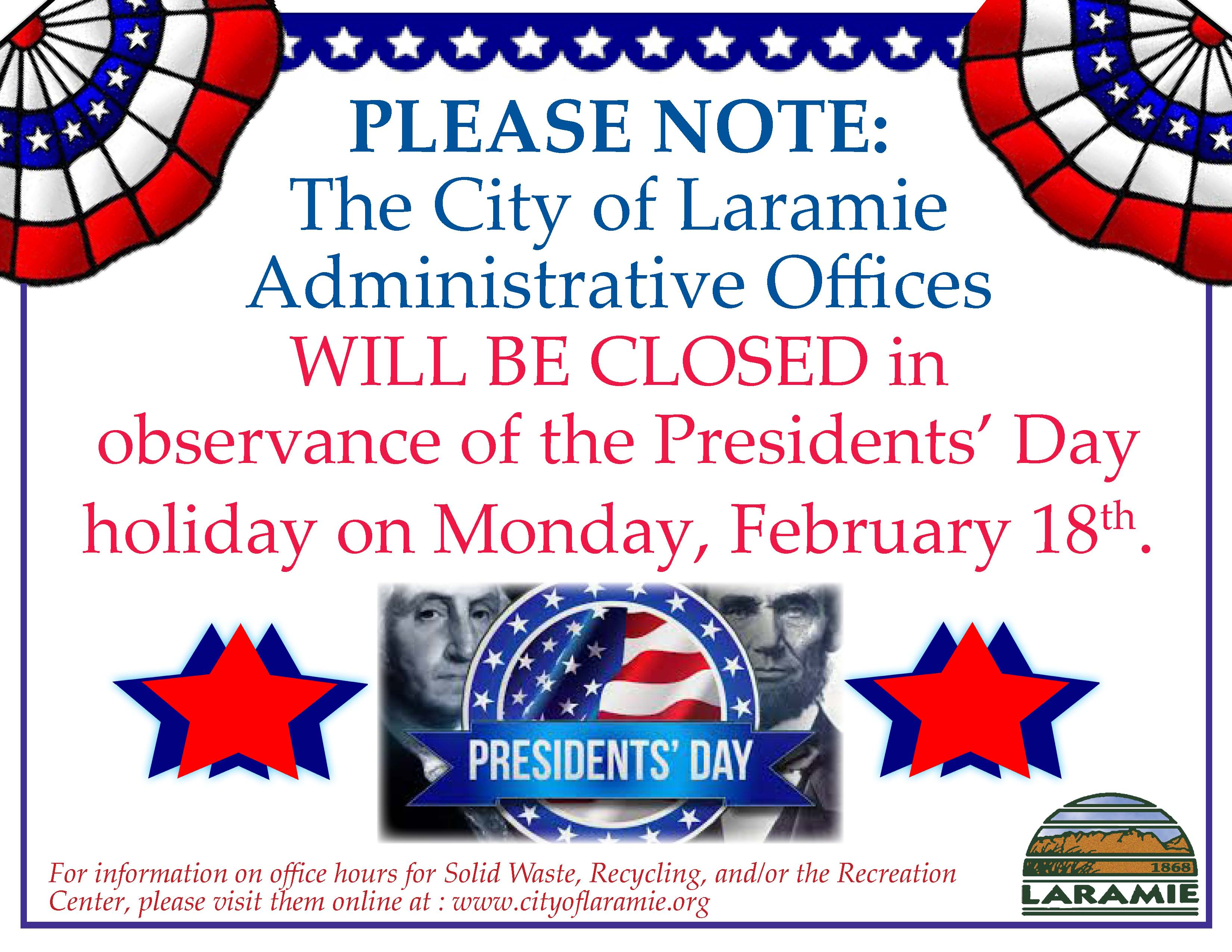 Administrative Office Closure Notice Presidents Day