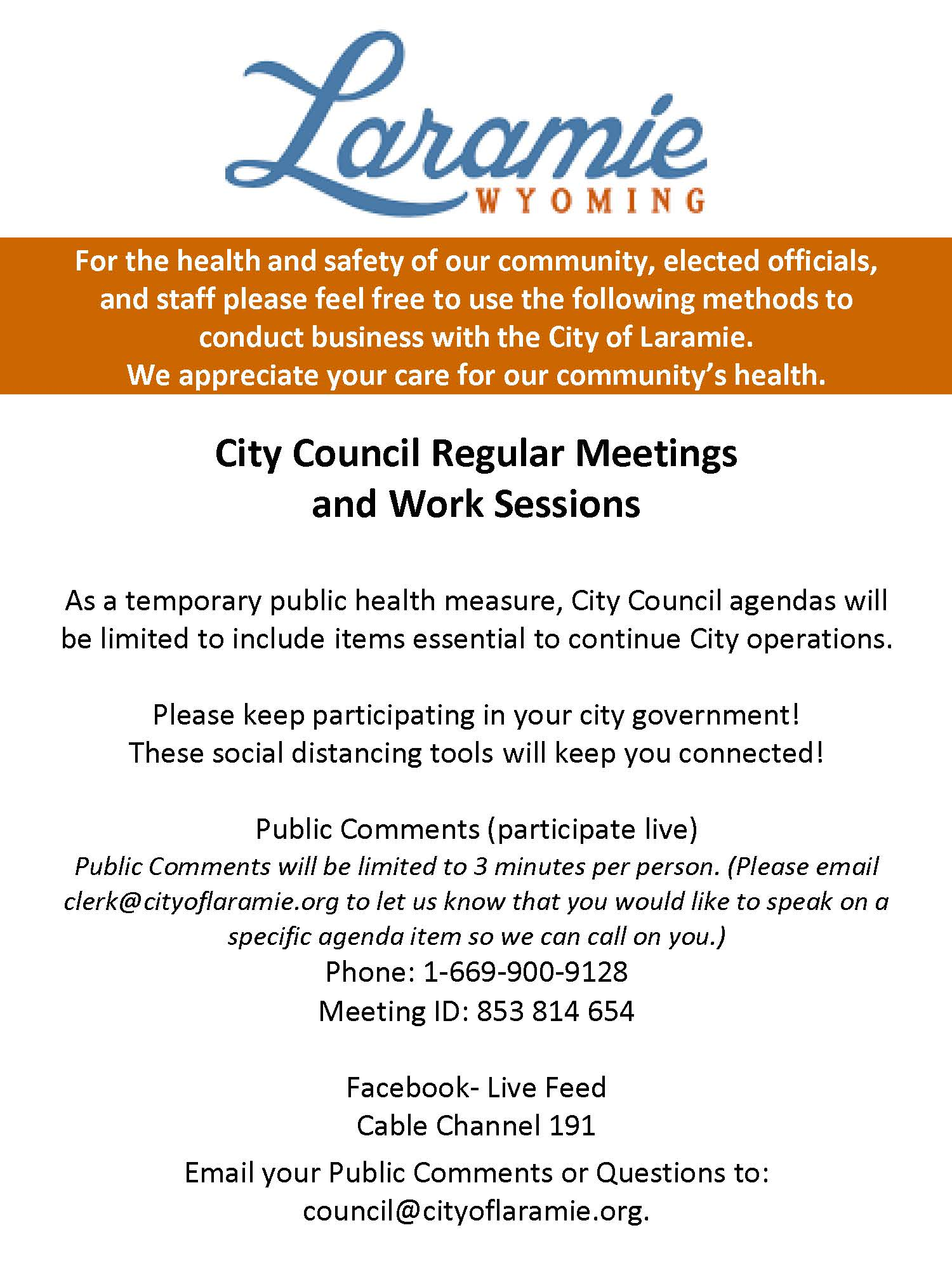 Council Zoom Meetings COVID19 3-26-20