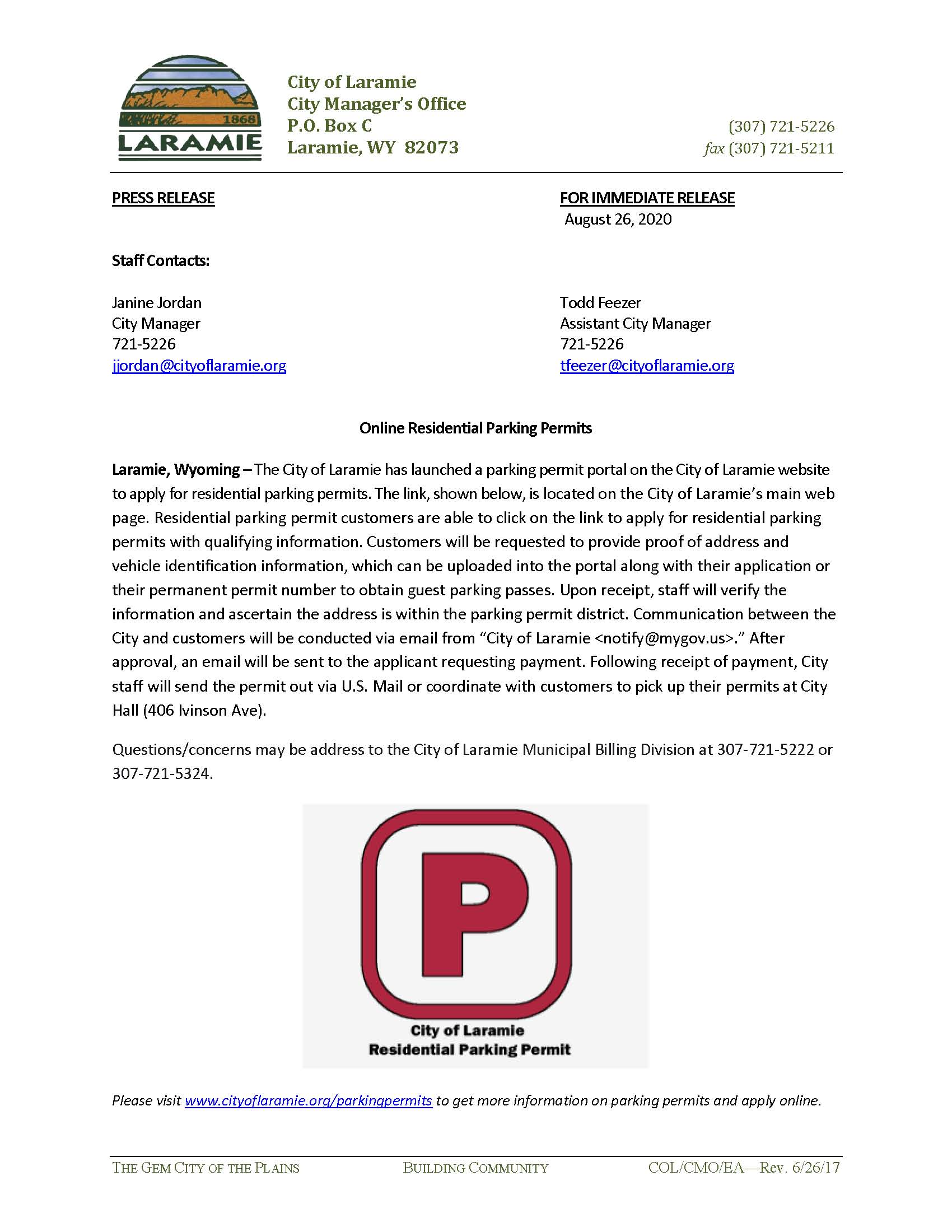 COL Residential Parking Permits--Press Release Aug 26, 2020