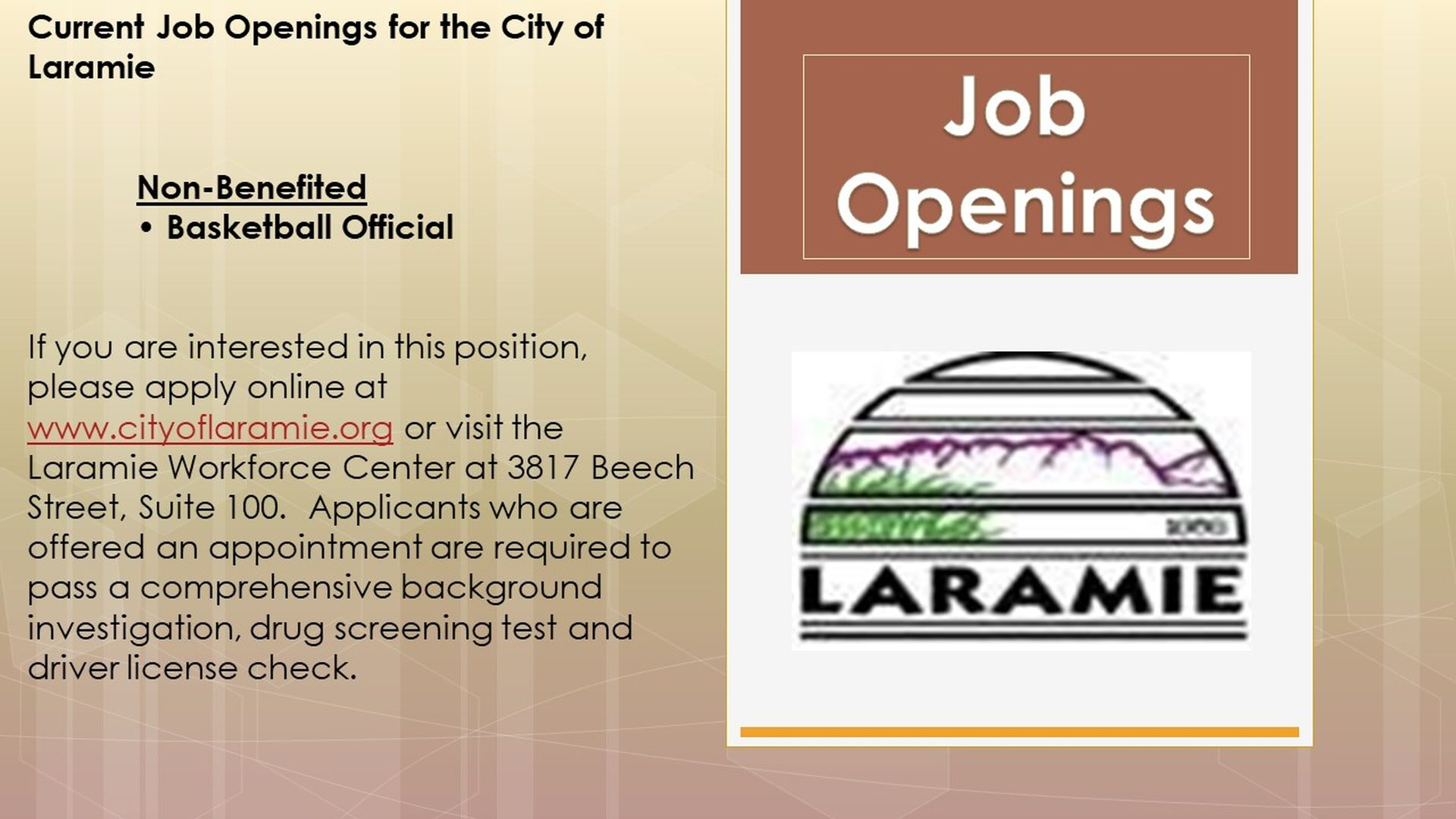 Job Openings at City of Laramie: Non-benefited BasketBall Official